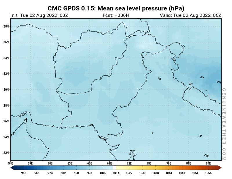 Pakistan map with Mean sea level pressure by CMC GDPS model