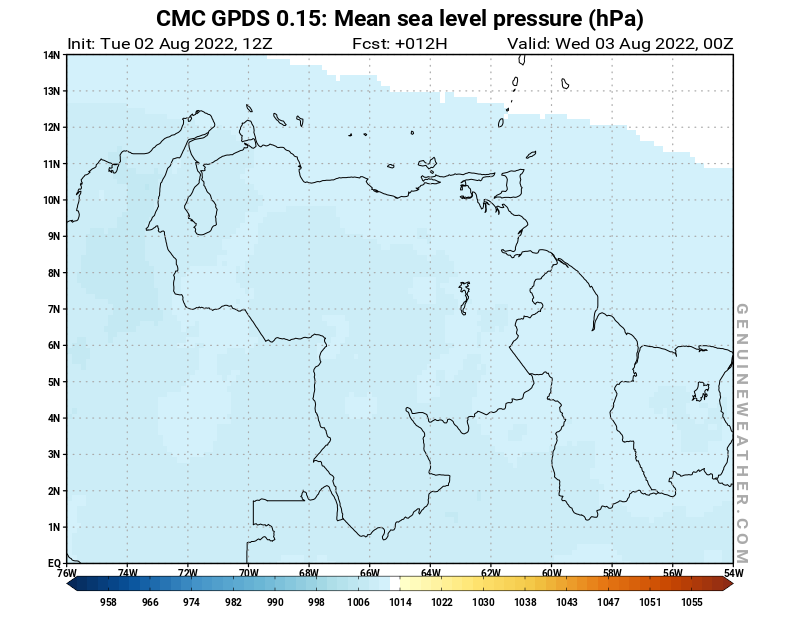 CMC GDPS - Venezuela - 12 UTC - Mean sea level pressure - Bis