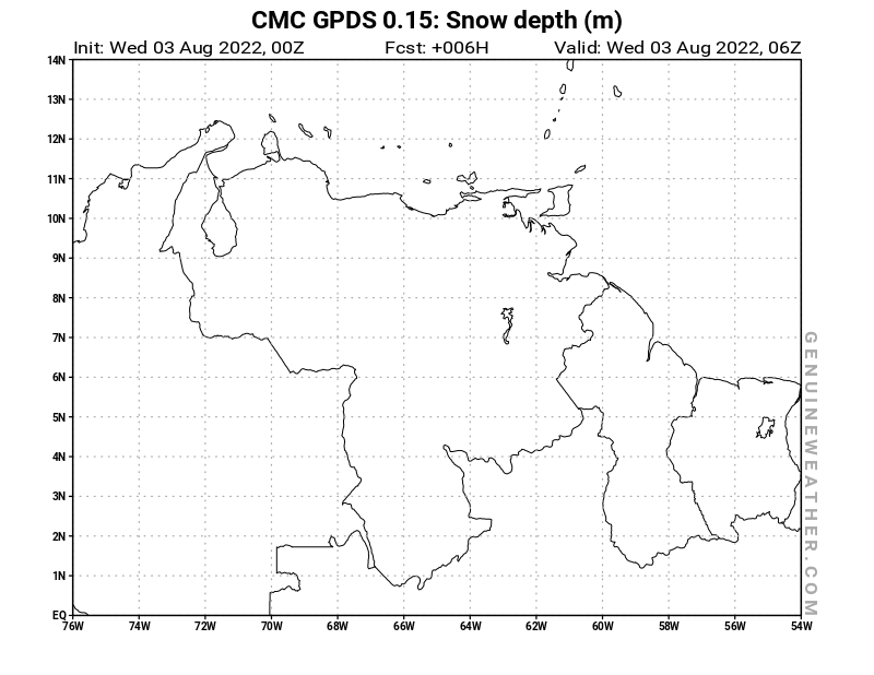 CMC GDPS - Venezuela - 00 UTC - Snow Depth