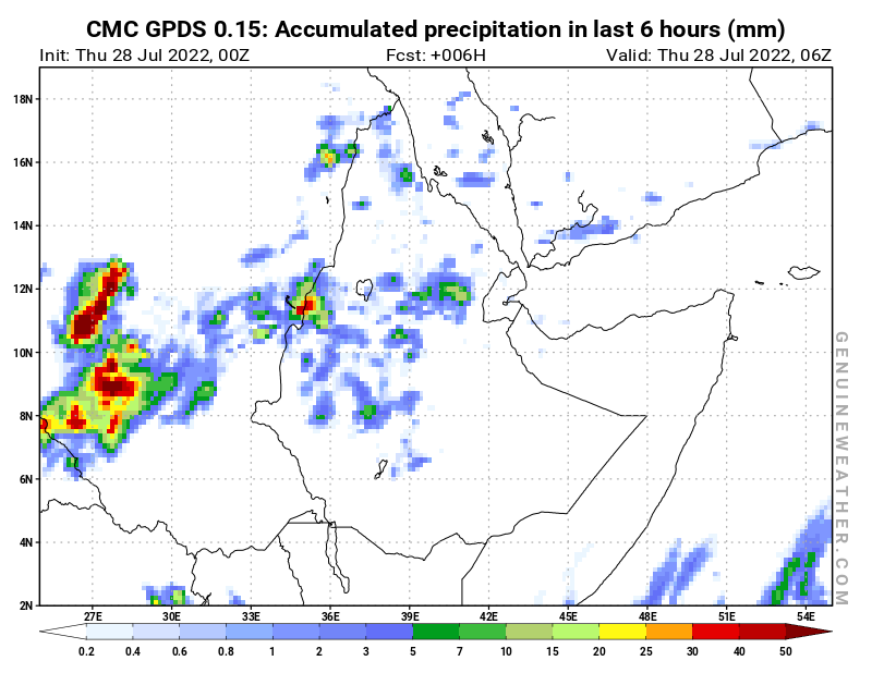 CMC GDPS - Ethiopia - 00 UTC - Precipitation in 6 hours
