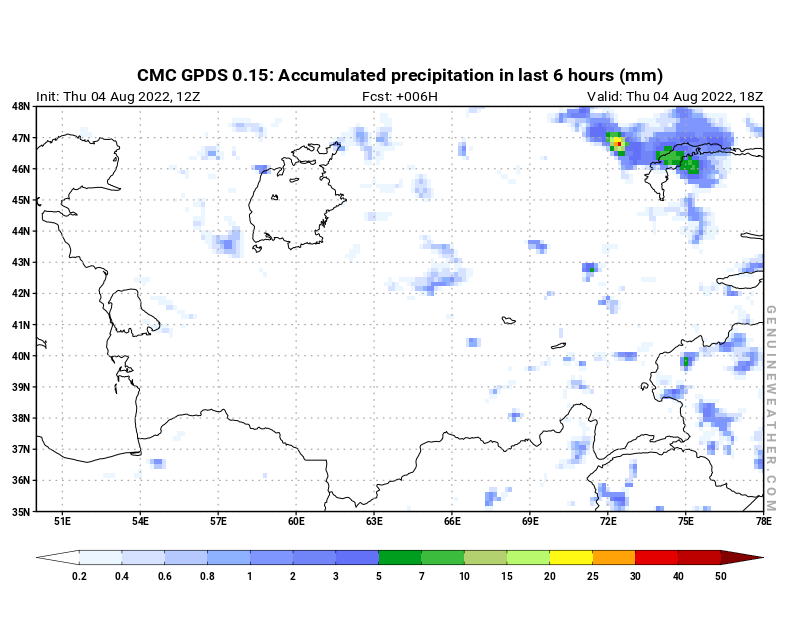 CMC GDPS - Uzbekistan - 12 UTC - Precipitation in 6 hours