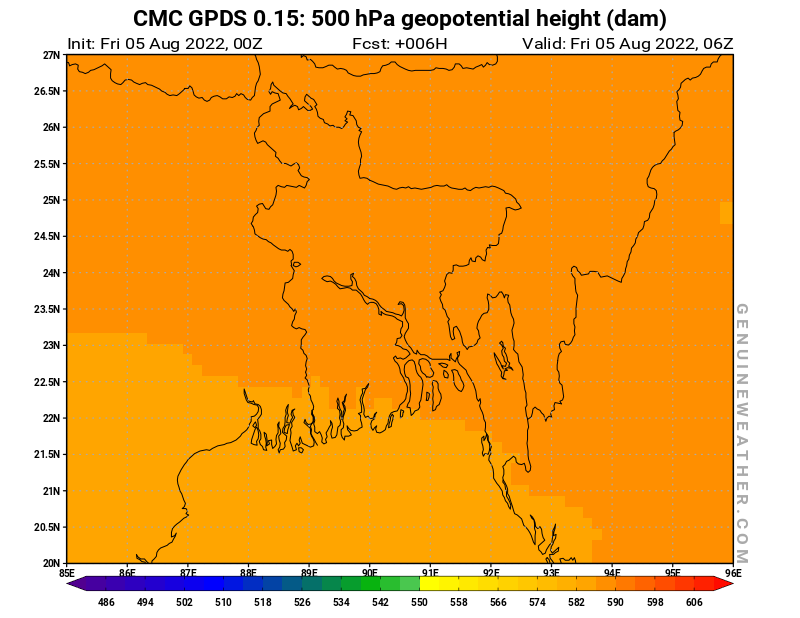 Bangladesh map with 500 hPa geopotential height by CMC GDPS model