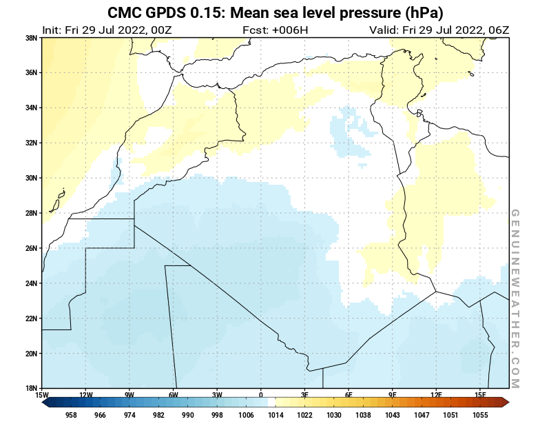 Algeria map with Mean sea level pressure by CMC GDPS model