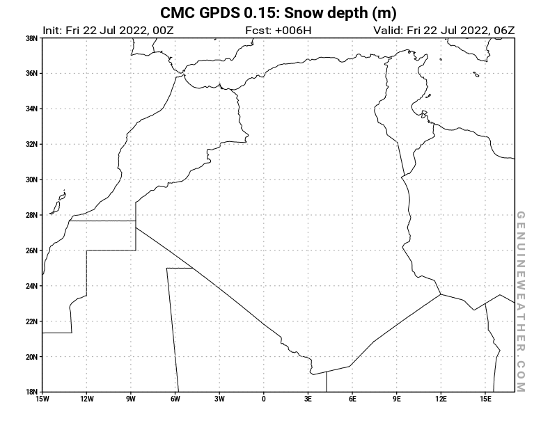 Algeria map with Snow Depth by CMC GDPS model