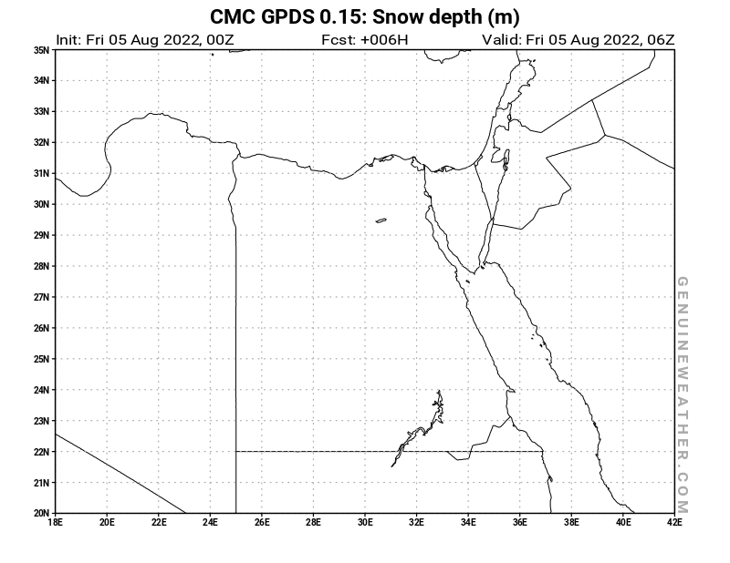 Egypt map with Snow Depth by CMC GDPS model