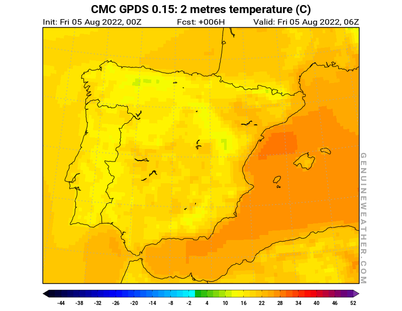Spain map with 2 metres temperature by CMC GDPS model
