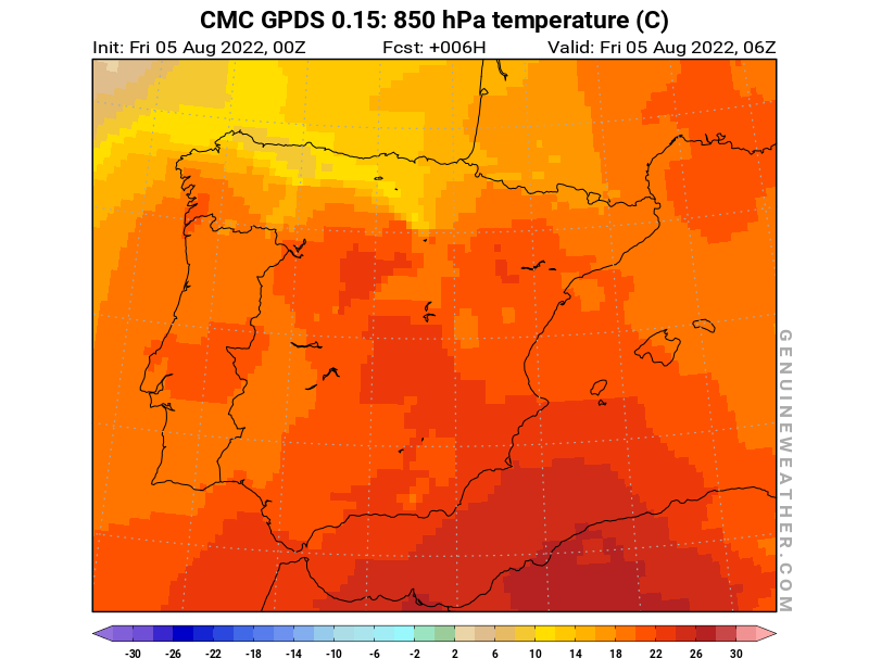 Spain map with 850 hPa temperature by CMC GDPS model
