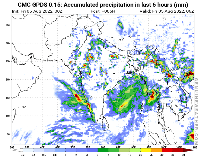 India map with Precipitation in 6 hours by CMC GDPS model