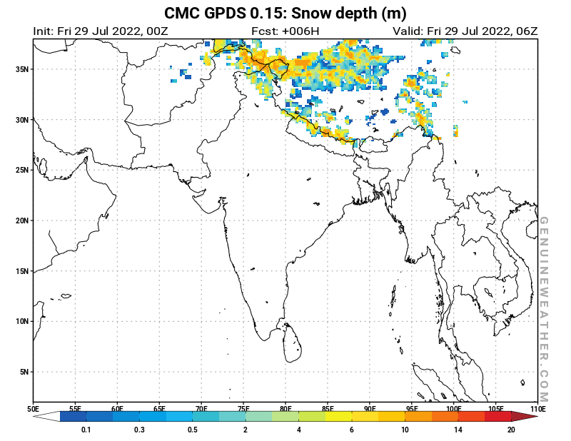 India map with Snow Depth by CMC GDPS model