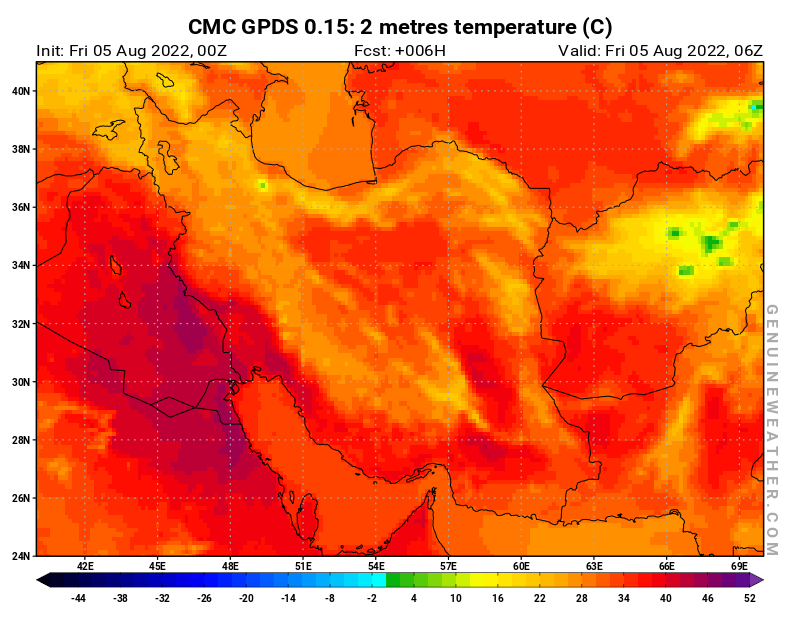 Islamic Republic of Iran map with 2 metres temperature by CMC GDPS model