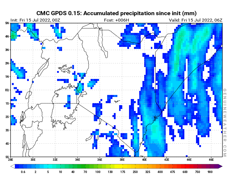 Kenya map with Accumulated precipitation by CMC GDPS model