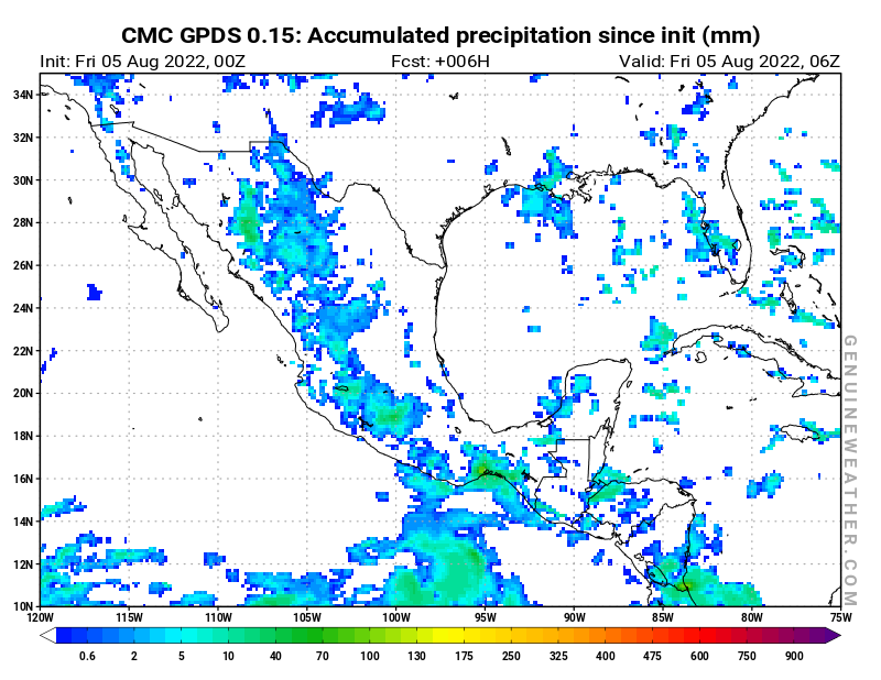 Mexico map with Accumulated precipitation by CMC GDPS model