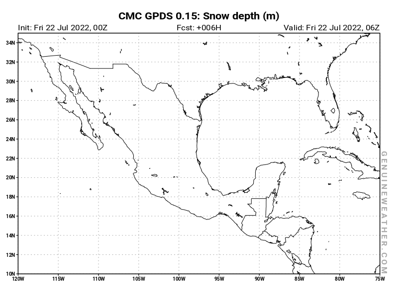 Mexico map with Snow Depth by CMC GDPS model