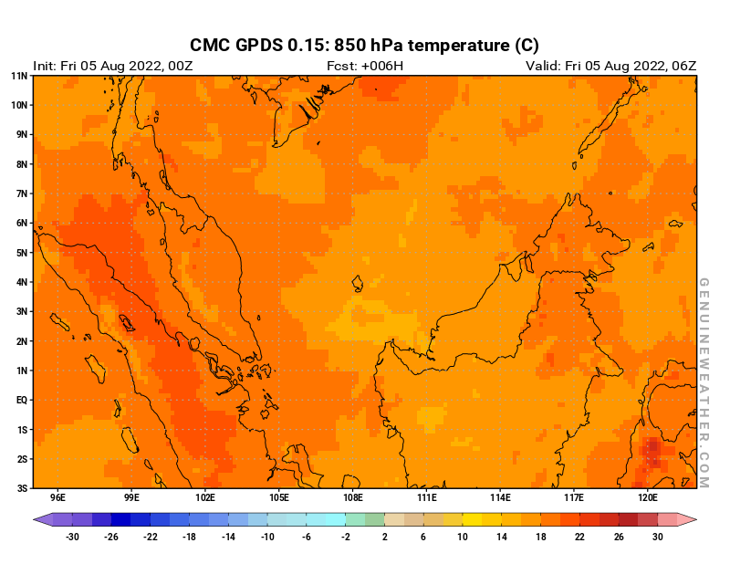 Malaysia map with 850 hPa temperature by CMC GDPS model
