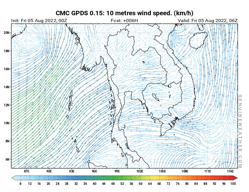 Thailand map with 10 metres wind speed by CMC GDPS model