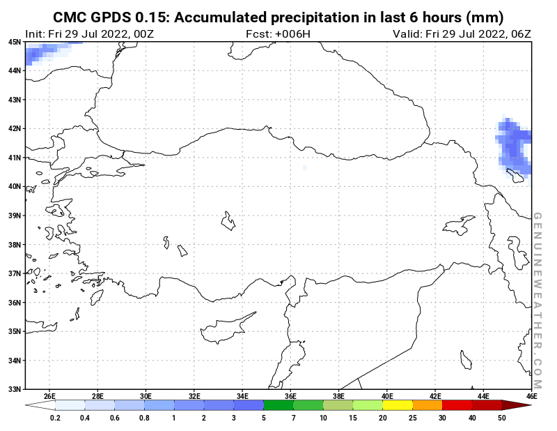 Turkey map with Precipitation in 6 hours by CMC GDPS model