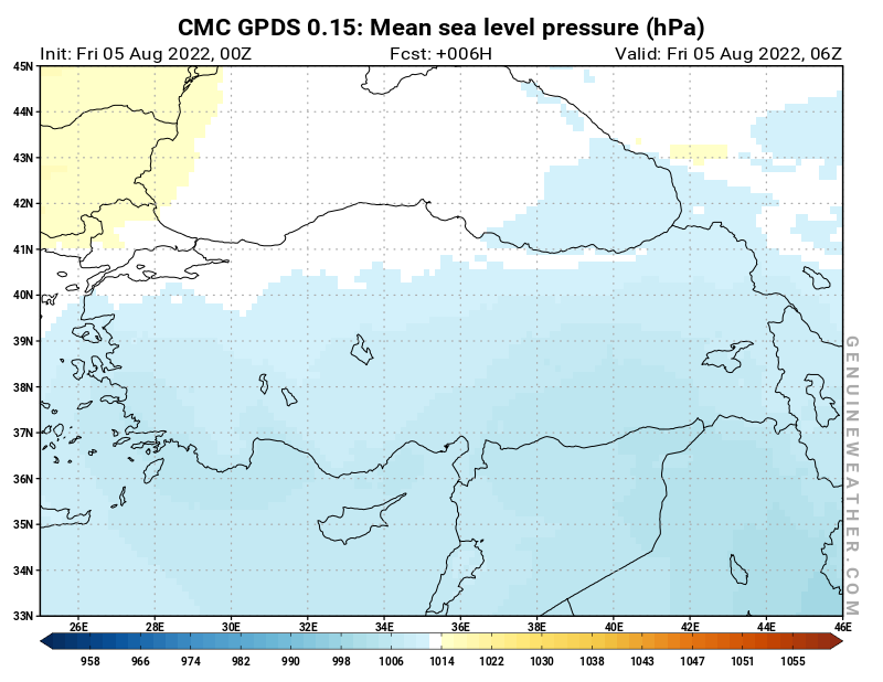 Turkey map with Mean sea level pressure by CMC GDPS model