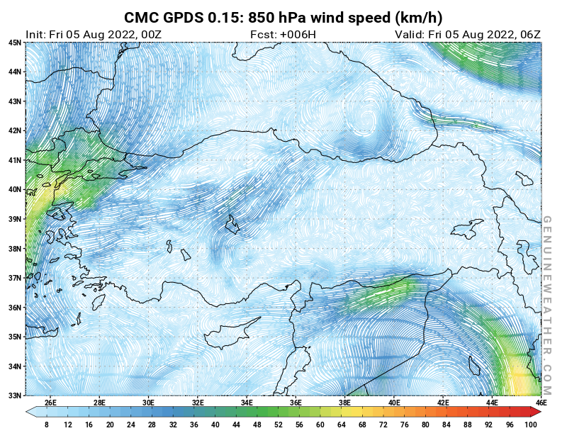 Turkey map with 850 hPa wind speed by CMC GDPS model