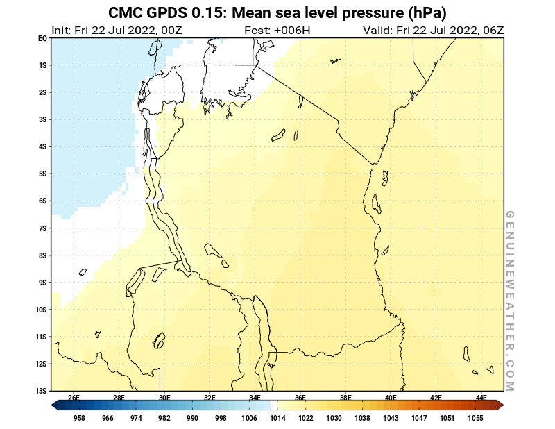 Tanzania map with Mean sea level pressure by CMC GDPS model