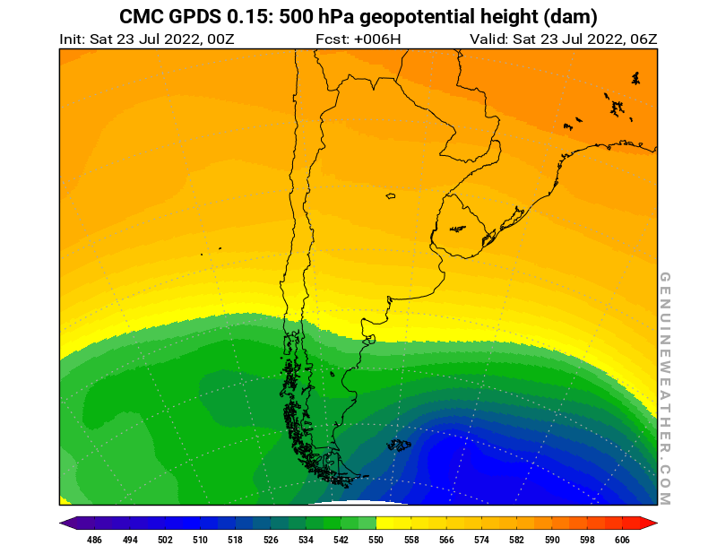 Argentina map with 500 hPa geopotential height by CMC GDPS model