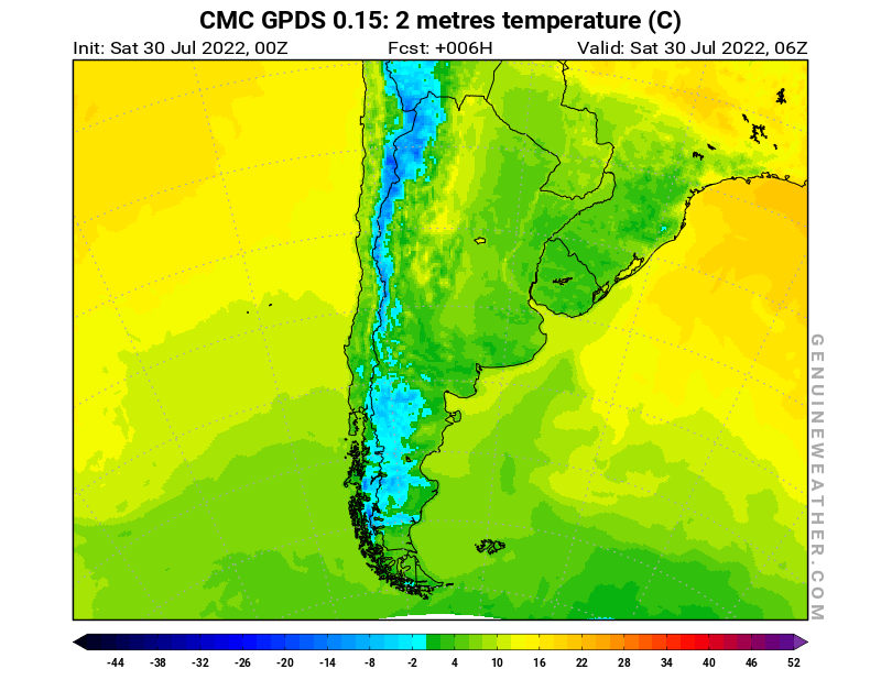 Argentina map with 2 metres temperature by CMC GDPS model