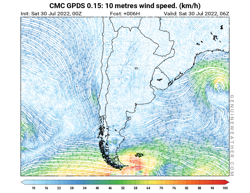 Argentina map with 10 metres wind speed by CMC GDPS model