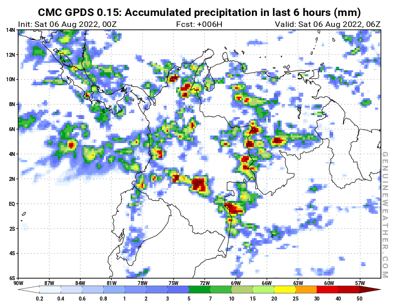 Colombia map with Precipitation in 6 hours by CMC GDPS model
