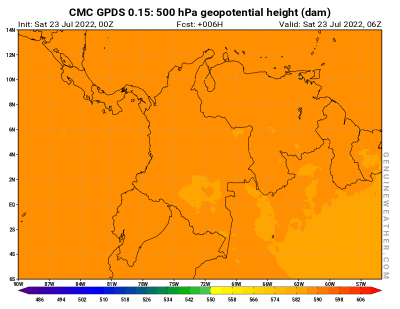 Colombia map with 500 hPa geopotential height by CMC GDPS model