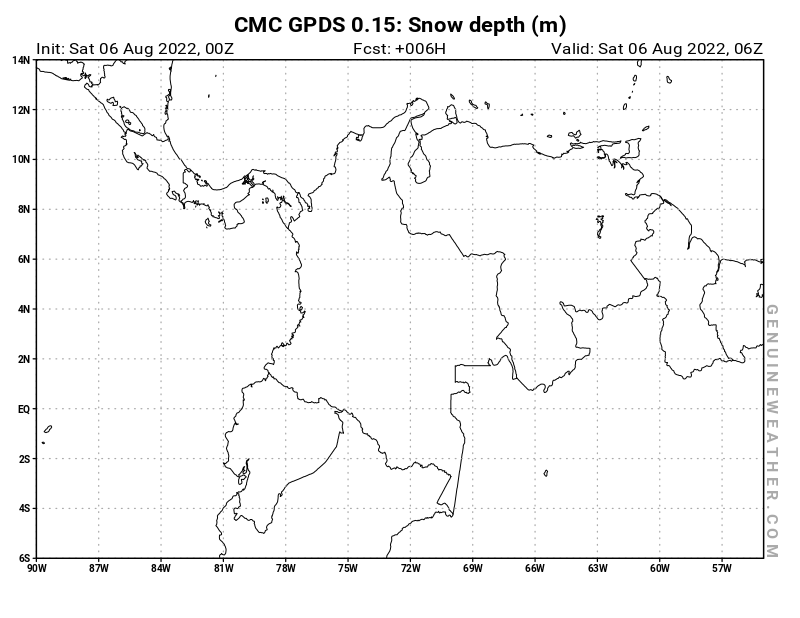 Colombia map with Snow Depth by CMC GDPS model