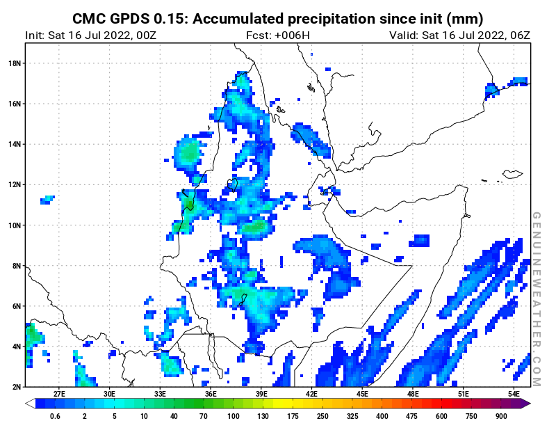 Ethiopia map with Accumulated precipitation by CMC GDPS model