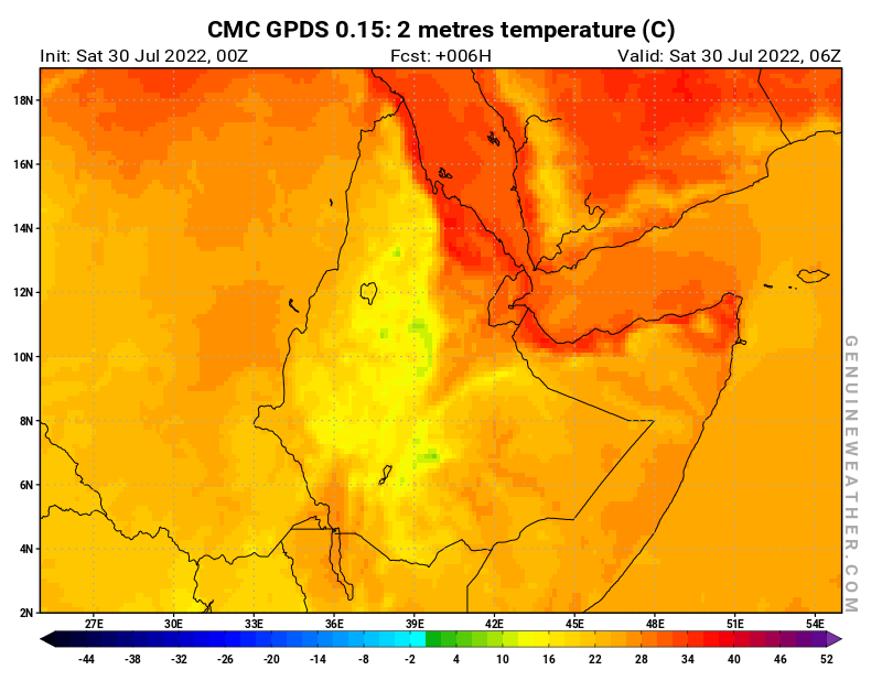 Ethiopia map with 2 metres temperature by CMC GDPS model