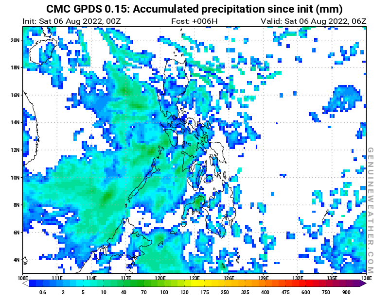 Philippines map with Accumulated precipitation by CMC GDPS model