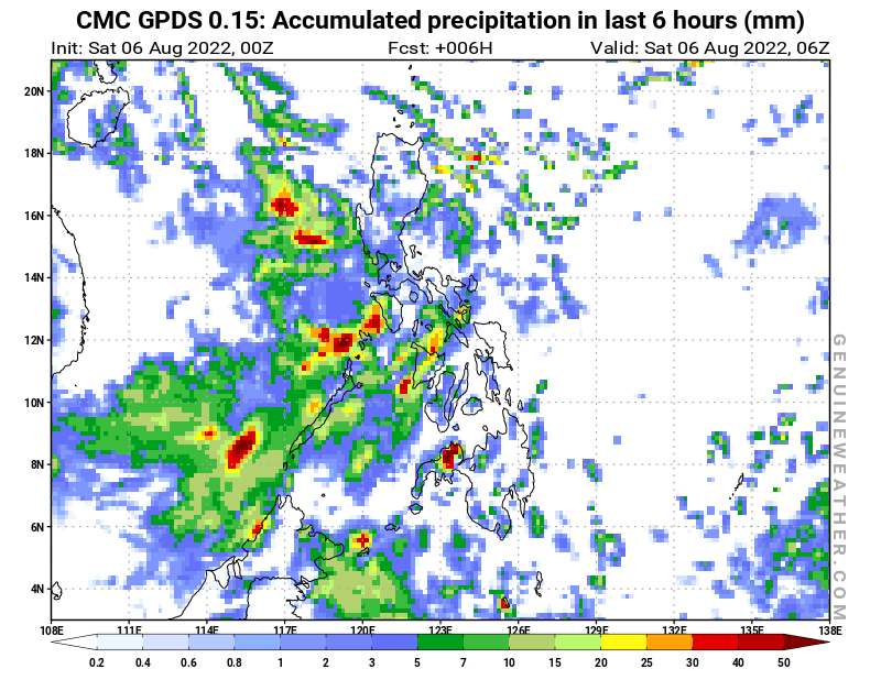 Philippines map with Precipitation in 6 hours by CMC GDPS model