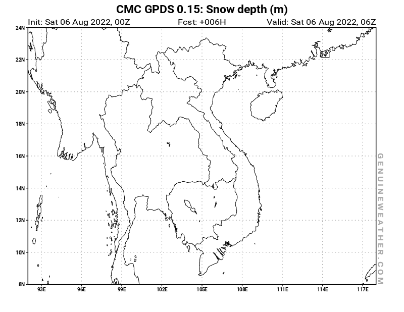 Vietnam map with Snow Depth by CMC GDPS model