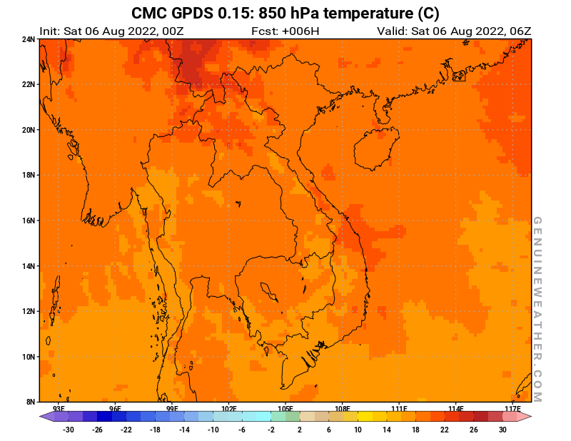 Vietnam map with 850 hPa temperature by CMC GDPS model