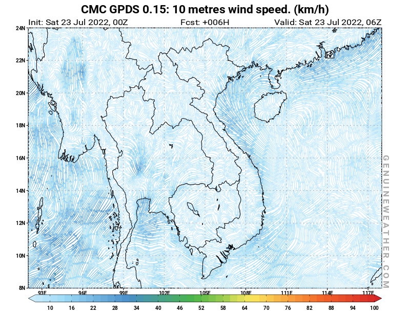 Vietnam map with 10 metres wind speed by CMC GDPS model