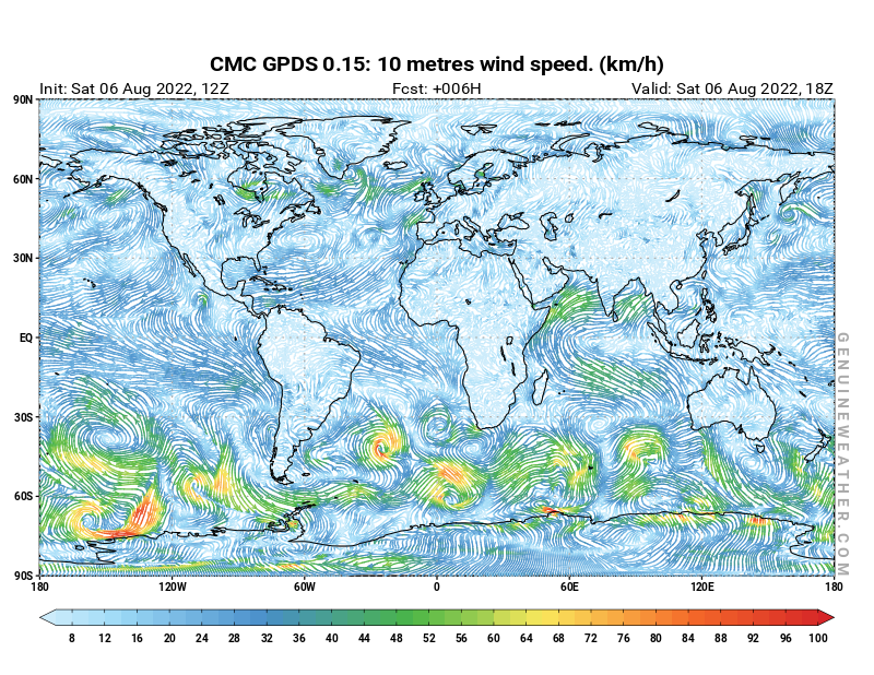 Global map with 10 metres wind speed by CMC GDPS model