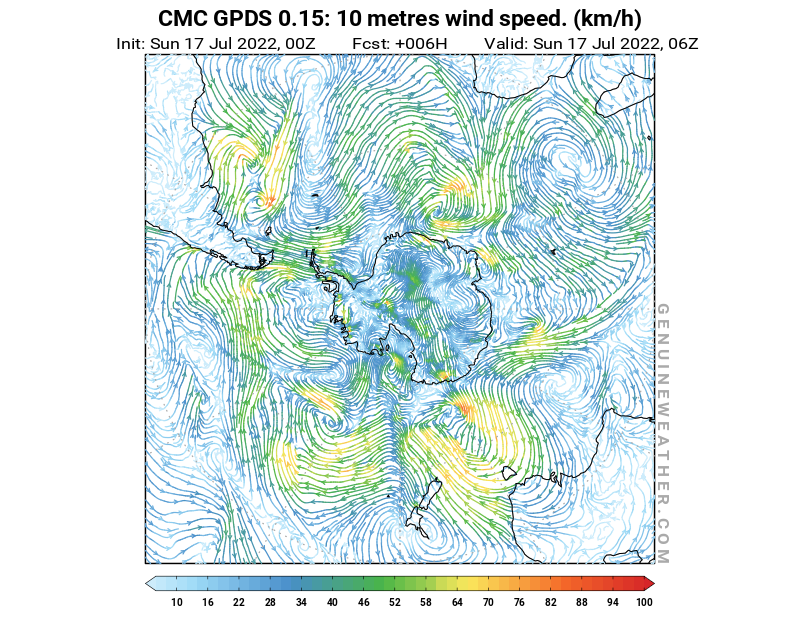 Antarctic map with 10 metres wind speed by CMC GDPS model