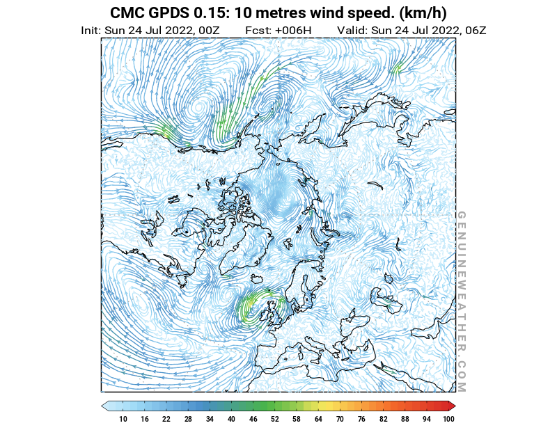Arctic map with 10 metres wind speed by CMC GDPS model