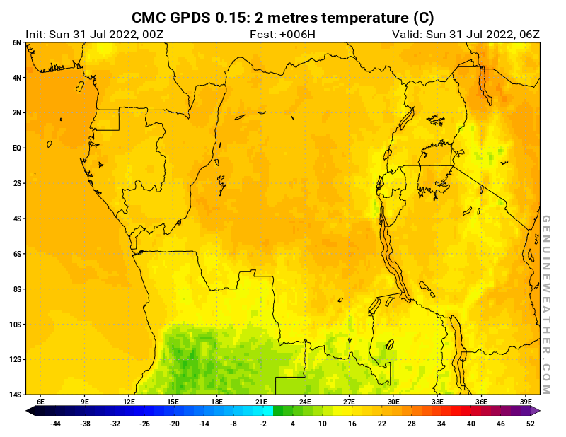 Democratic Republic of the Congo map with 2 metres temperature by CMC GDPS model