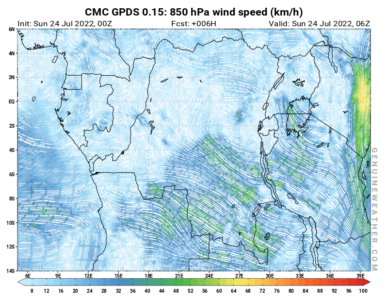 Democratic Republic of the Congo map with 850 hPa wind speed by CMC GDPS model