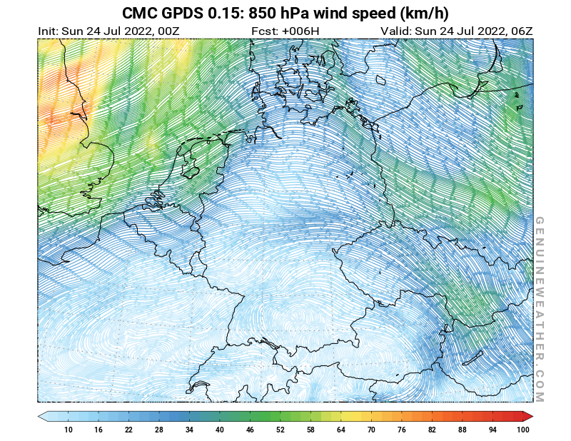 Germany map with 850 hPa wind speed by CMC GDPS model