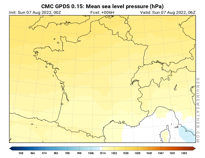 France map with Mean sea level pressure by CMC GDPS model