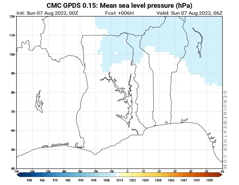 Ghana map with Mean sea level pressure by CMC GDPS model