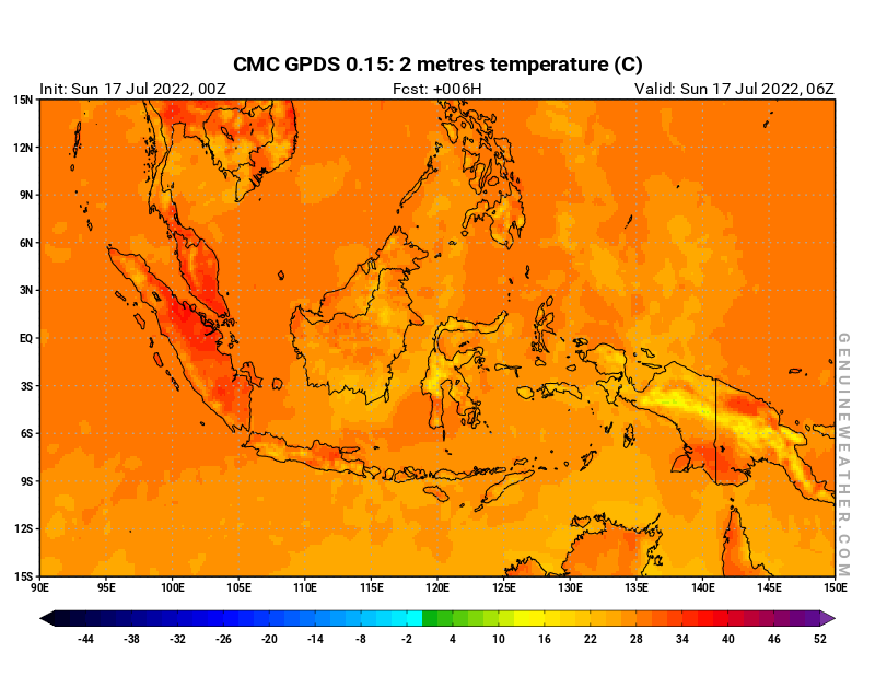 Indonesia map with 2 metres temperature by CMC GDPS model