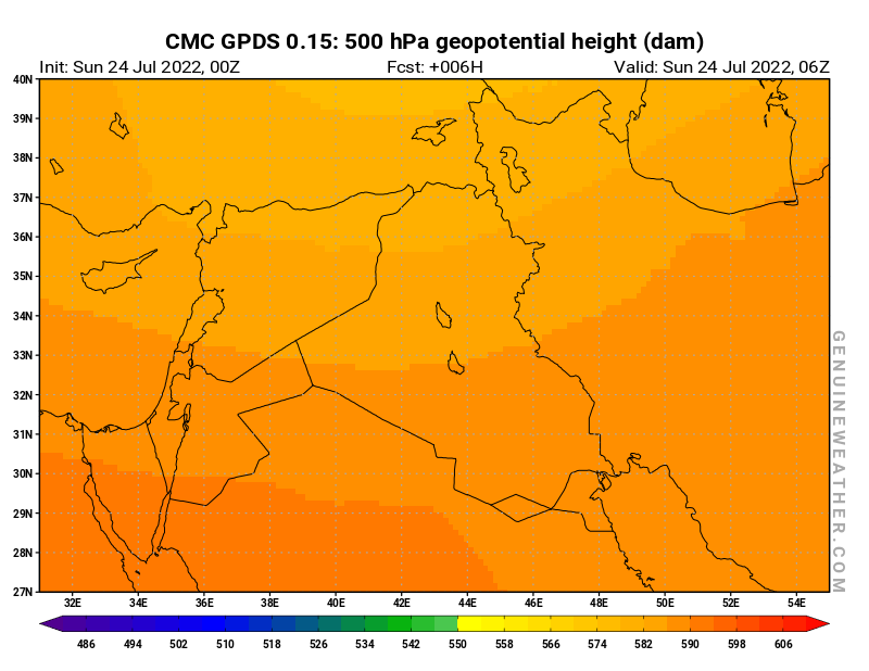 Iraq map with 500 hPa geopotential height by CMC GDPS model