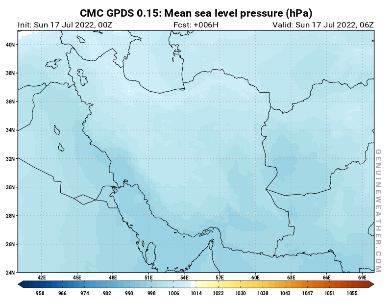 Islamic Republic of Iran map with Mean sea level pressure by CMC GDPS model