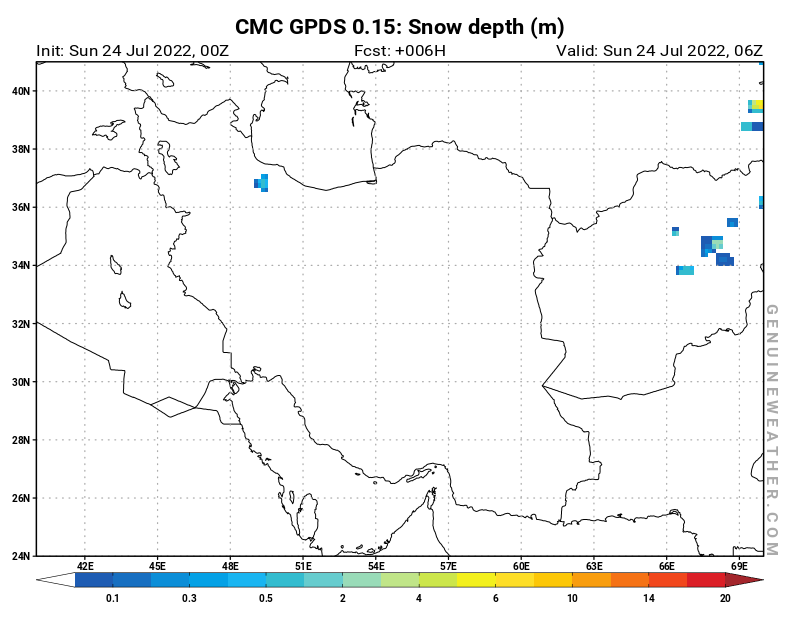Islamic Republic of Iran map with Snow Depth by CMC GDPS model