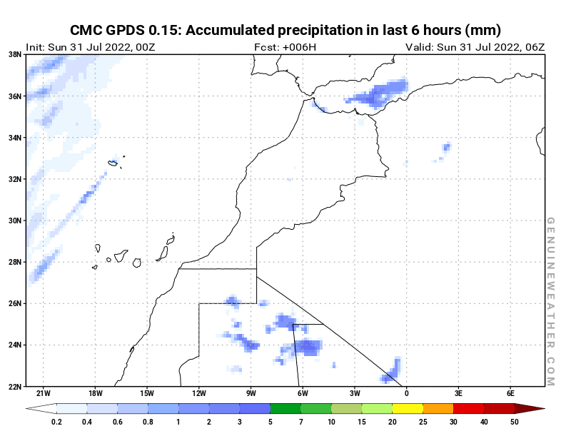 Morocco map with Precipitation in 6 hours by CMC GDPS model