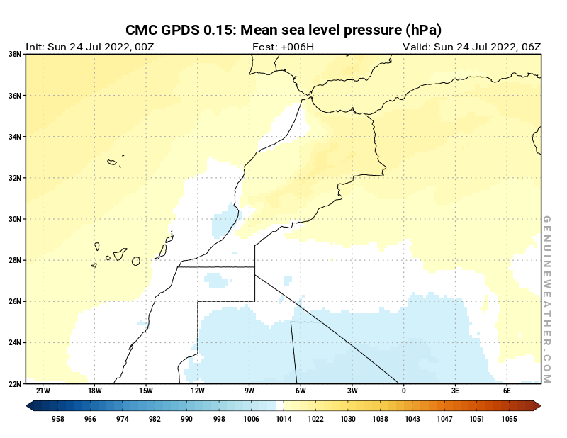 Morocco map with Mean sea level pressure by CMC GDPS model